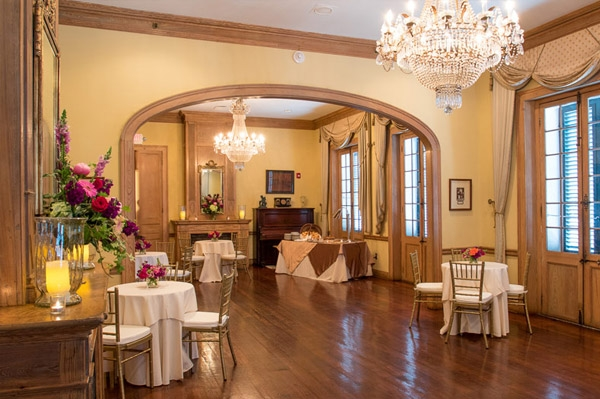 Napoleon House privet party room decorated for event